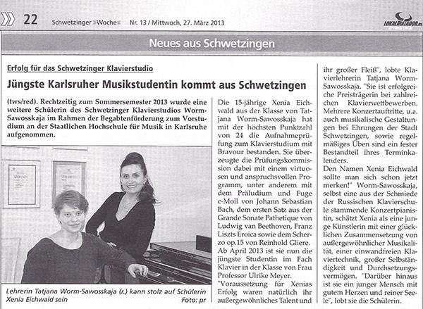 Jüngste Karlsruher Musikstudentin kommt aus Schwetzingen
