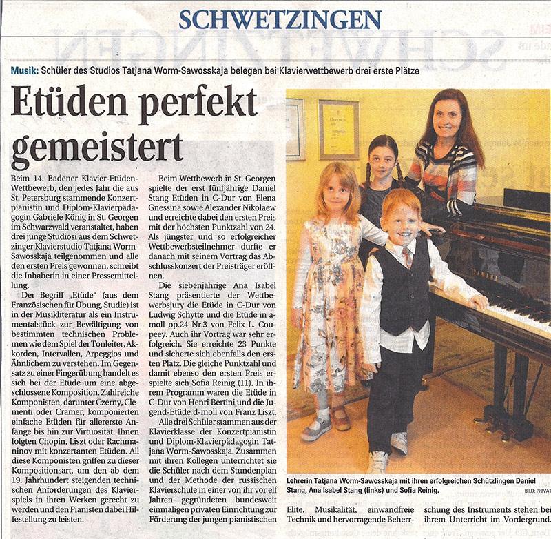 Schwetzinger Zeitung - Etüden perfekt gemeister